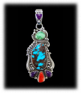 Multi Color Bisbee Turquoise Pendant